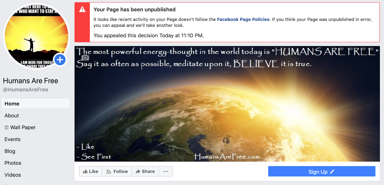 humansarefree.com banned by facebook